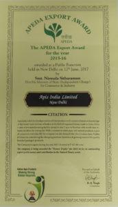 Apeda Award Certificate